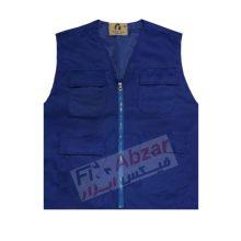جلیقه تبلیغاتی چهار جیب رنگ آبی کاربنی