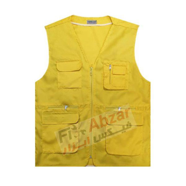 جلیقه تبلیغاتی زرد شش جیب